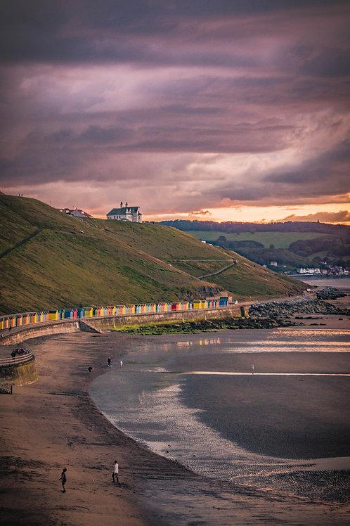 beach sunset walk  print
