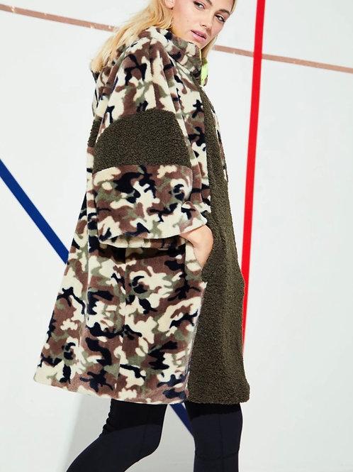 Half- Zip Camo Midi Faux Fur Jacket
