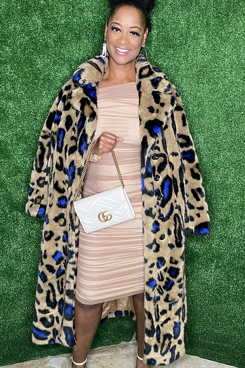 Faux Fur Leopard Print Maxi Coat