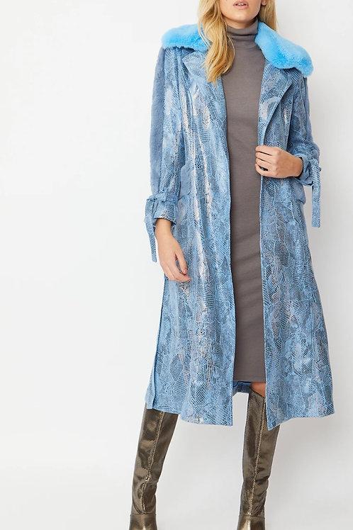 Faux Suede Maxi coat with Faux Fur Trim