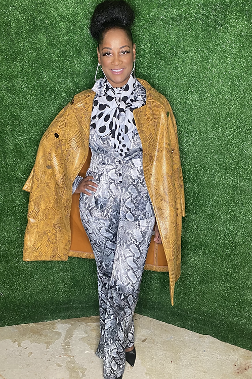 Faux Suede Snake Print Coat