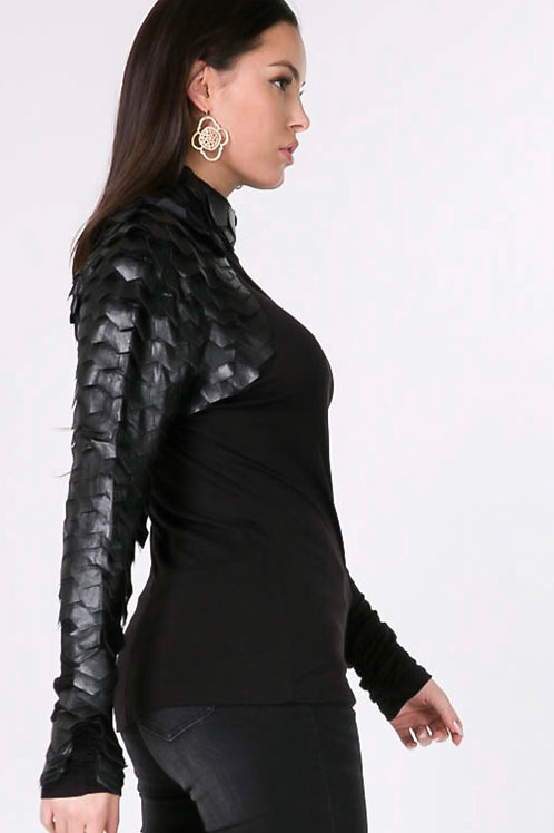 LONG SLEEVE LEATHER TURTLENECK TOP