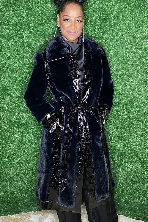 Faux Fur And Faux Suede Panelled Coat
