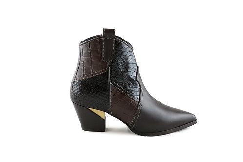 Boots Santiag bi-matières
