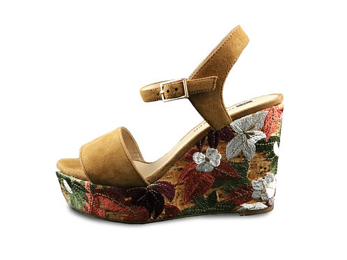 Sandales compensées fleuries