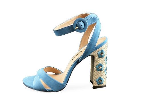 Sandales à talons fleuris
