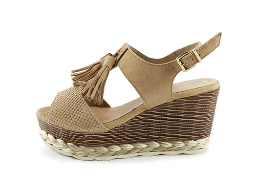 Sandales compensées à pompons
