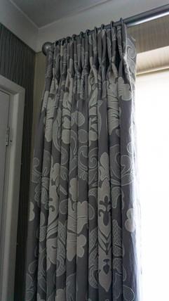Double pleat floor length curtains