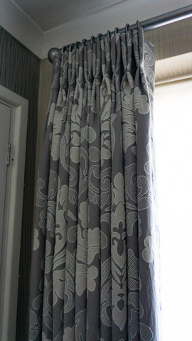Double pleat floor length curtains