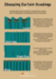 Curtain heading infographic, eyelets, cartridge, pich pleat and wave