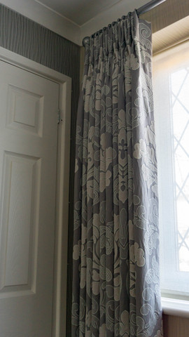 Double pleat floor length curtains - living room