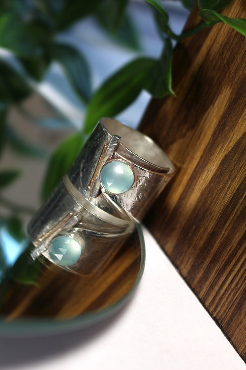 Blue Chalcedony & 9kt Gold Ring
