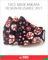 FACE MASK ANKARA DESIGN REUSABLE 2PLY