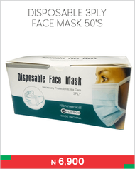 Disposable 3ply face mask 50's