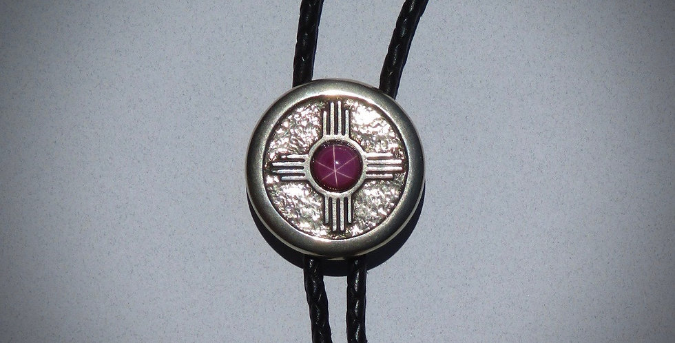 Zia with Red Star Ruby Stone Bolo Tie
