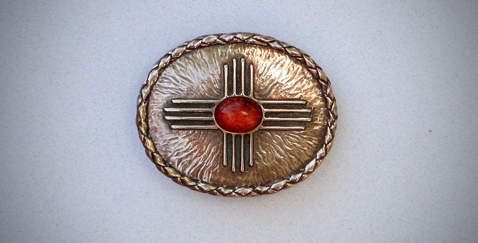 Zia with Red Baltic Amber stone belt buckle