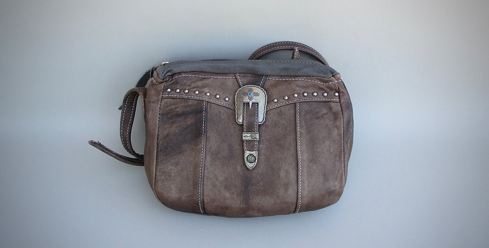 One of a Kind Leather bag with limited edition buckle set