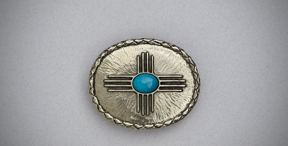 Zia with Turquoise stone Belt Buckle
