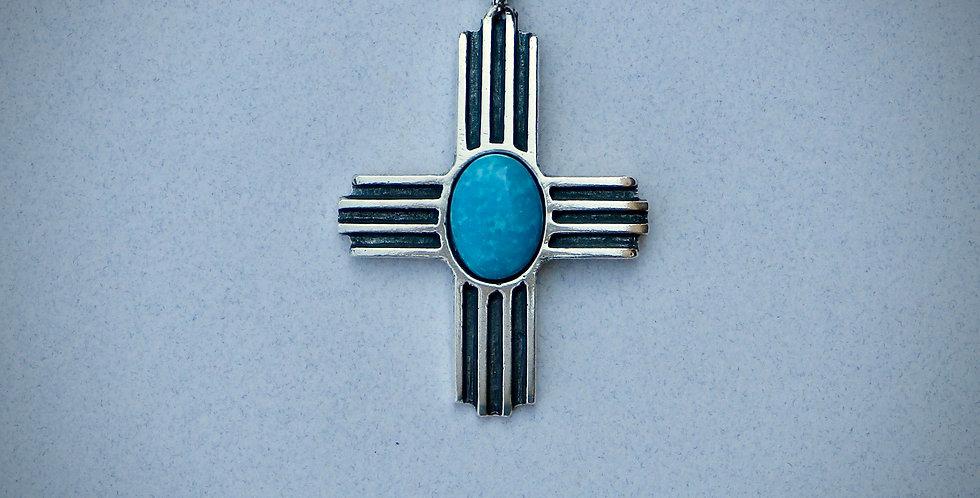 Large Zia pendant with Turquoise stone