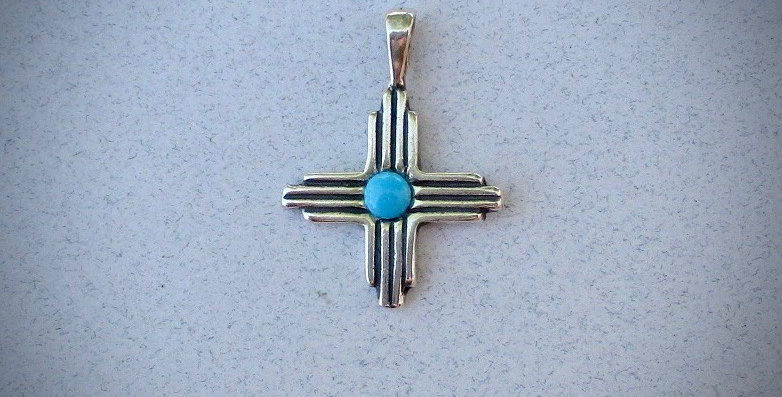 Small Zia pendant with turquoise stone