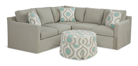 Slipcover Sectional/ Round Ottoman