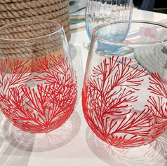 Coral Steamless Wine Glasses