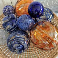 Orange + Navy Glass Balls