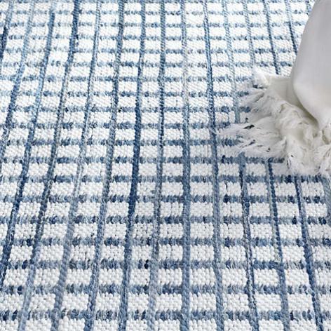 Blue/White Square Cotton Rug