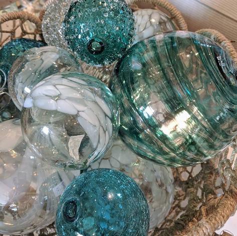Aqua + White Glass Balls
