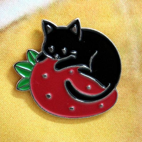 Strawberry Cat Pin