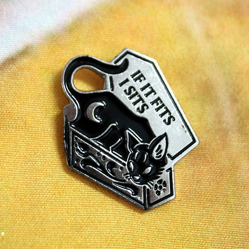 If It Fits I Sits Gothic Cat Pin