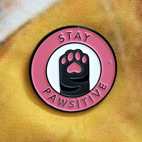 Stay Pawsitive Cat Pin