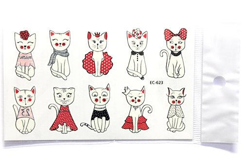 Temporary Cat Tattoo - 10 Temporary Tattoos Sheet