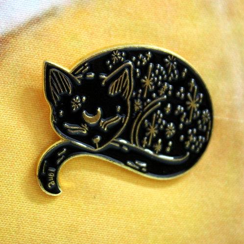 Cosmic Cat - Silver Tone Sleeping Cat Pin