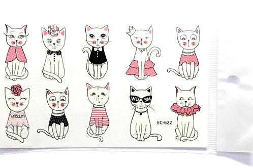 Temporary Tattoo Sheet - 10 Temporary Cat Tattoos