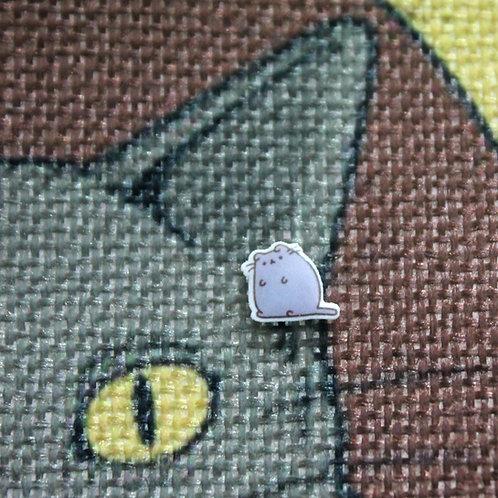 Cat Earrings - Grey Chonk Cat