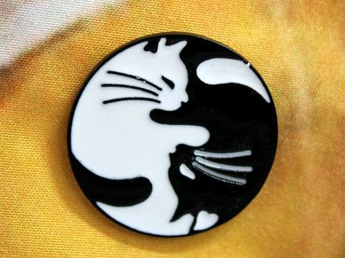 Yin and Yang Cat Pin