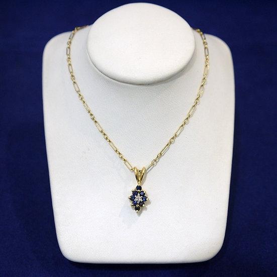 14k Yellow Gold Sapphire & Diamond Gemstone Pendant (Comes w/ FREE Box Chain)