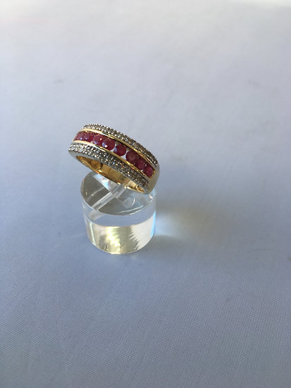 Round Ruby & Diamonds Dome Band Style 14k Yellow Gold Gemstone Ring