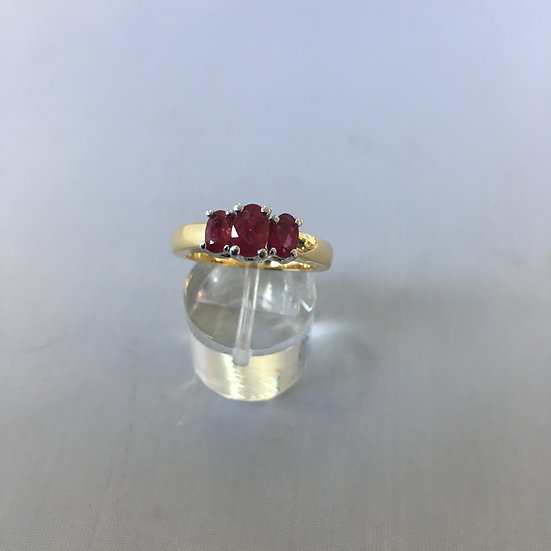Past Present & Future 3 Stone Pigeon Red Ruby Gemstone 14k Two-Tone Gold Ring