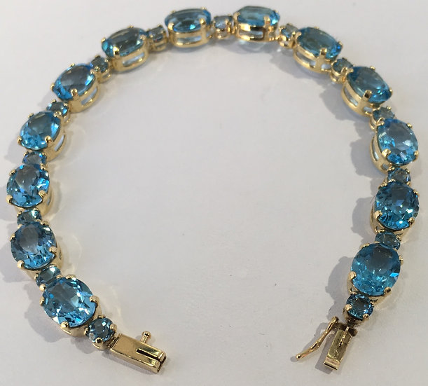 "London Blue Topaz 7"" Gemstone Bracelet w/ Box Clasp in 14k Yellow Gold"