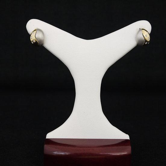14k Two-Tone Gold Bezel-Set Diamond Stud Earrings w/ Post/Friction Fastening