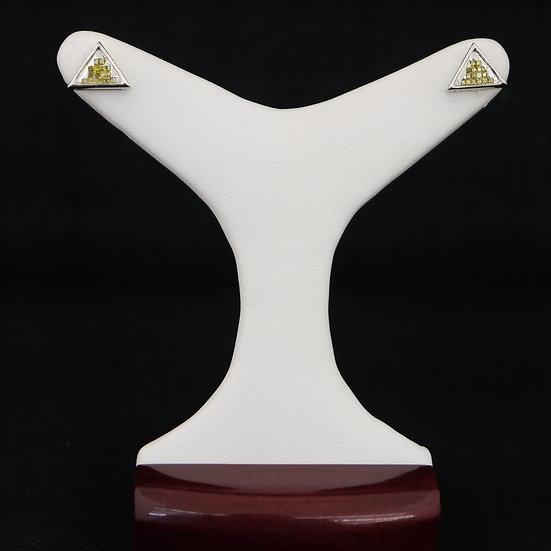 14k White Gold Screwback Princess Cut Yellow Diamond Triangle Stud Earrings