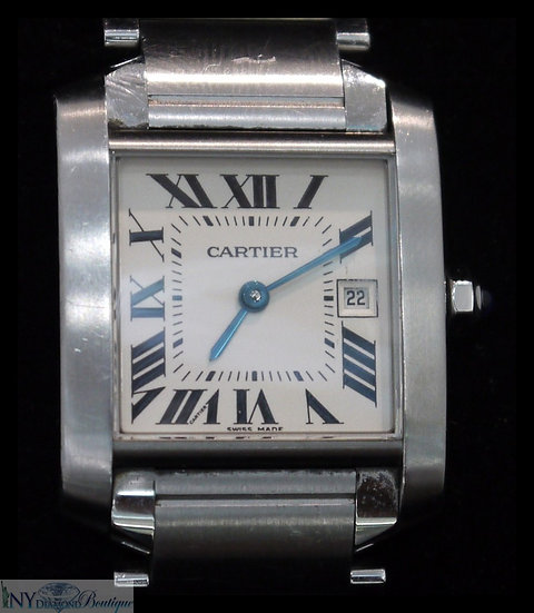 Cartier Tank Francaise 25mm Stainless Steel Quartz Ladies Luxury Watch 2465