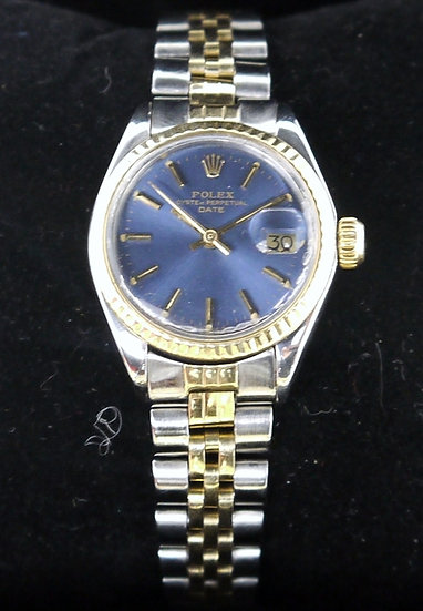 Rolex ♛ Oyster Perpetual 18k, Stainless Steel, Blue Face Ladies Watch