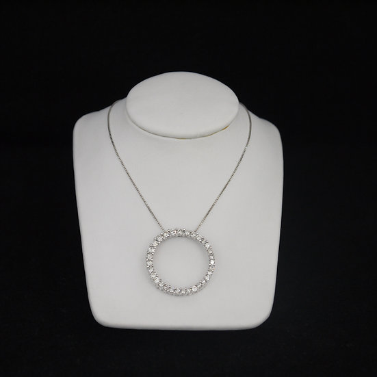 14k White Gold Diamond Studded Endless Circle Pendant (Comes w/ FREE Box Chain!)