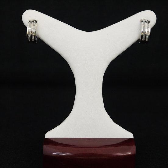 14k White Gold Huggies/Hoop Earrings with Double Row of Baguette Diamonds
