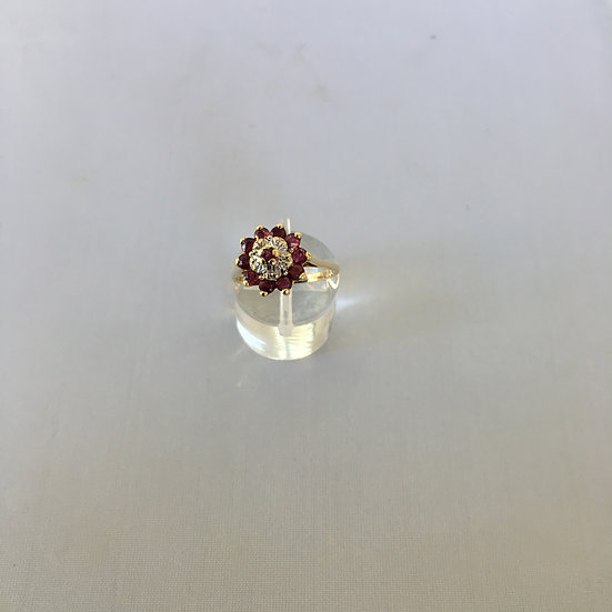 Flower Top Floral Design Ruby & Diamond Yellow Gold Gemstone Ring