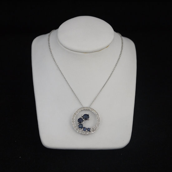 14k White Gold Eternity Circle w/ Diamonds & Sapphires Gem Pendant w/ FREE Chain