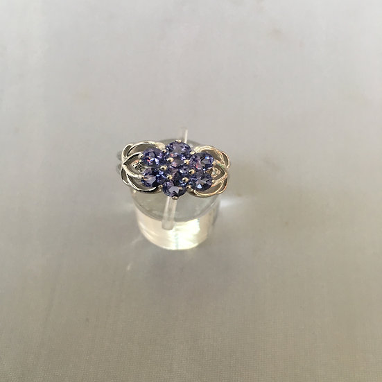 Floral Tanzanite Gemstone White Gold Ring w/ 4 Diamonds